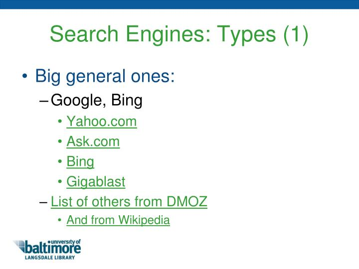 Search Engines: Types (1)