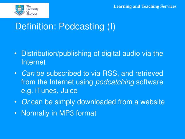 Definition podcasting i
