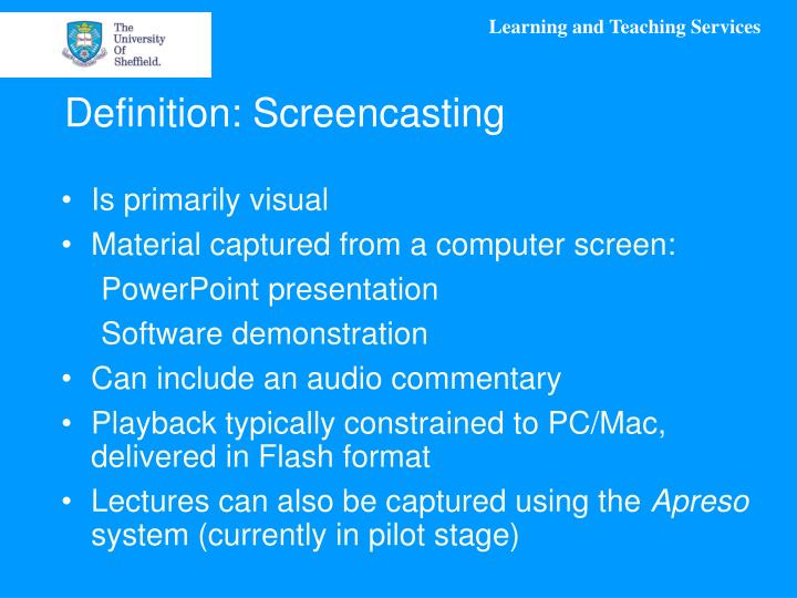 Definition: Screencasting