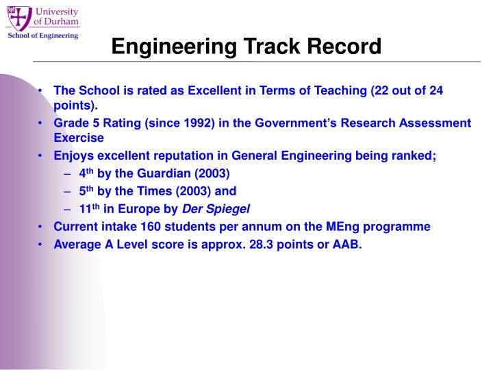 Engineering Track Record