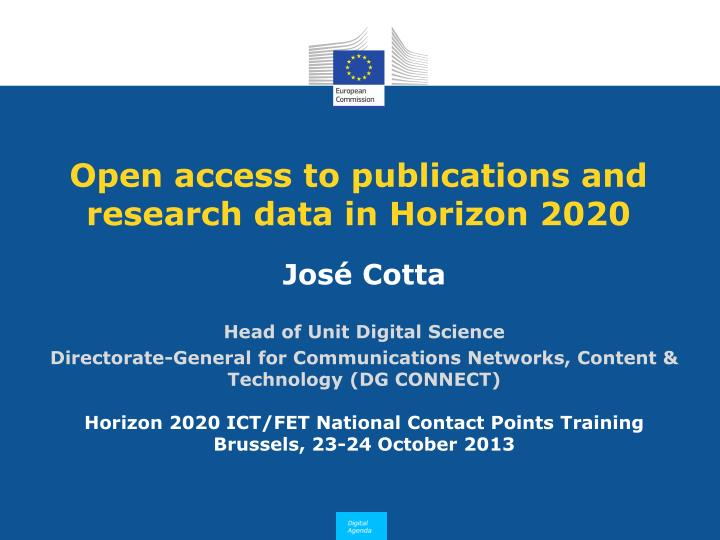 Open access to publications and research data in horizon 2020