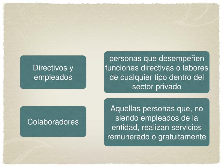 personas que desempeñen funciones directivas o labores de cualquier tipo dentro del sector privado