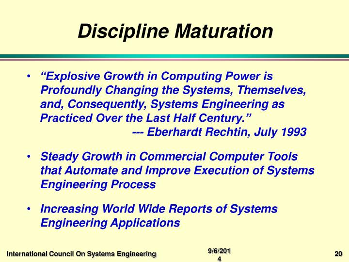 Discipline Maturation
