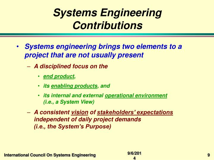 Systems Engineering Contributions