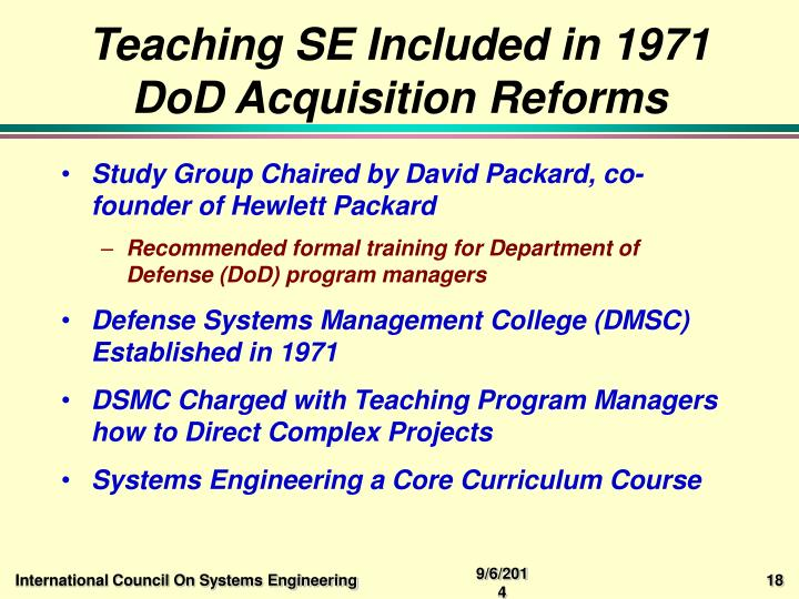 Teaching SE Included in 1971 DoD Acquisition Reforms