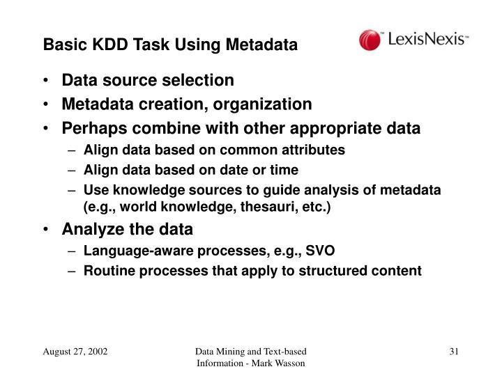 Basic KDD Task Using Metadata