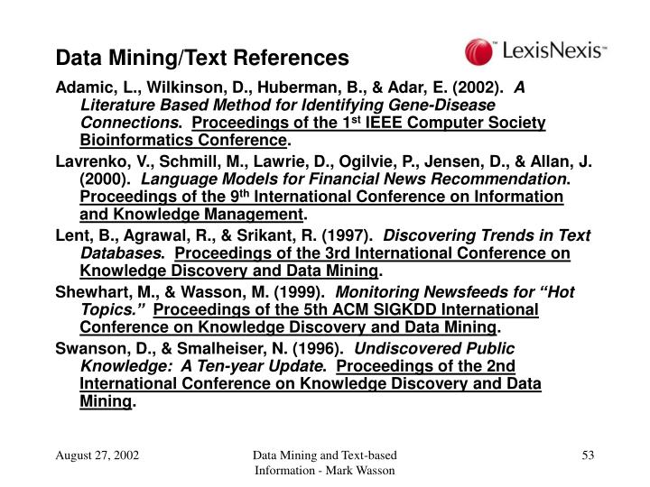 Data Mining/Text References