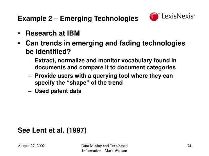 Example 2 – Emerging Technologies