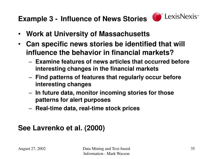 Example 3 - Influence of News Stories