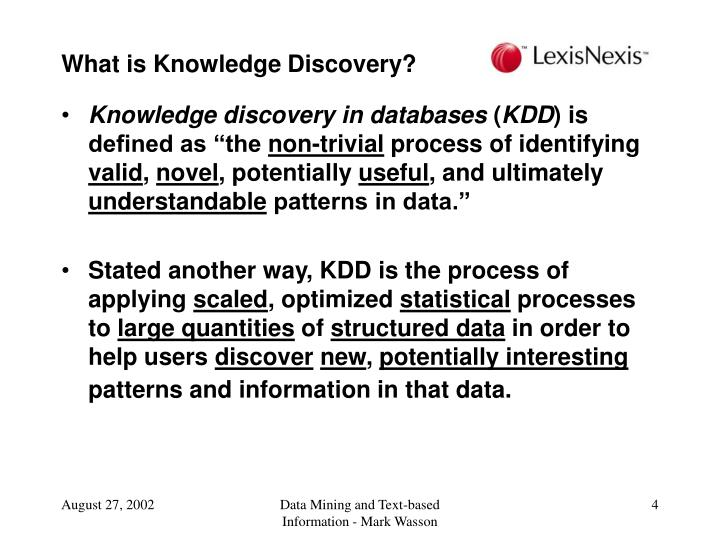 What is Knowledge Discovery?