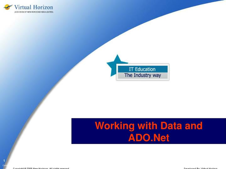 working with data and ado net n.