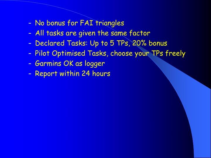 No bonus for FAI triangles