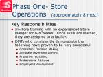 phase one store operations approximately 8 mos