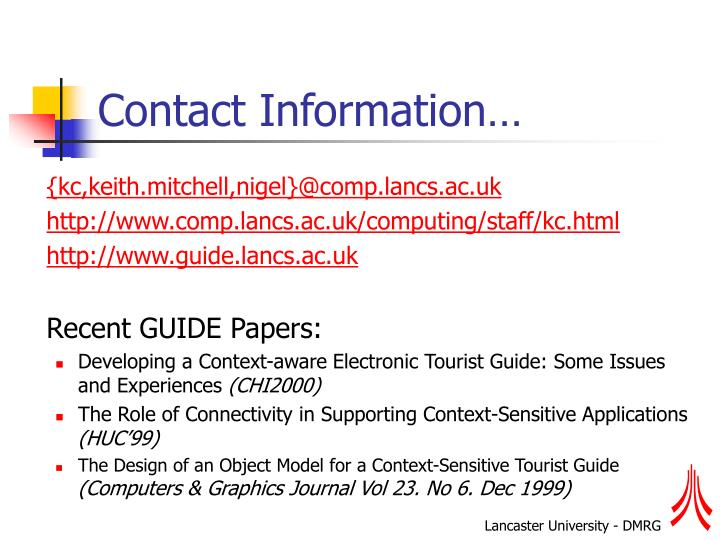 Contact Information…