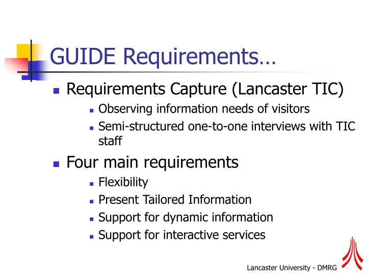GUIDE Requirements…
