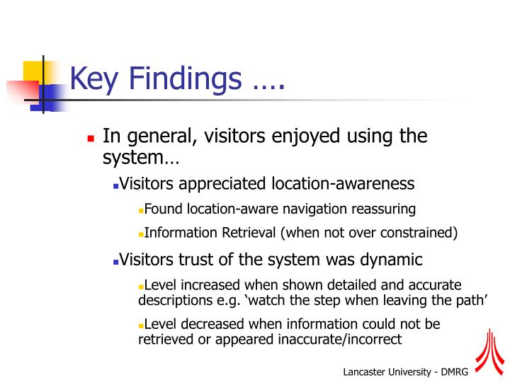Key Findings ….
