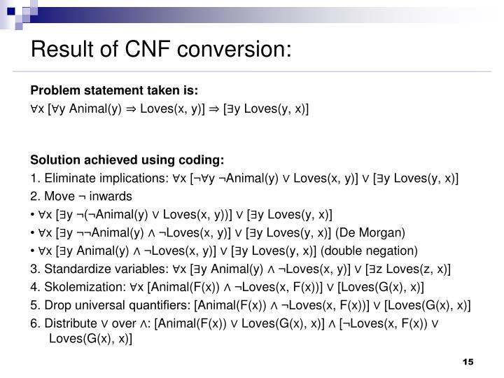 Result of CNF conversion: