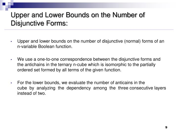 Upper and Lower Bounds on the Number of Disjunctive Forms: