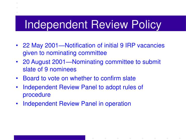 Independent review policy1