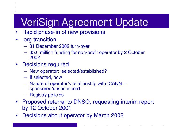 VeriSign Agreement Update