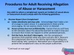 procedures for adult receiving allegation of abuse or harassment