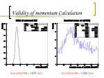 validity of momentum calculation