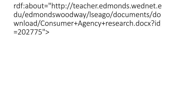 "<item rdf:about=""http://teacher.edmonds.wednet.edu/edmondswoodway/lseago/documents/download/Consumer+Agency+research.docx?id=202775"">"