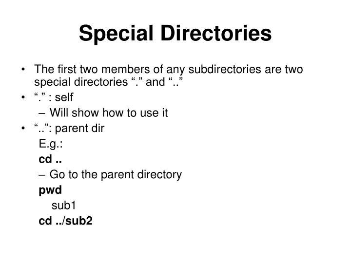 Special Directories