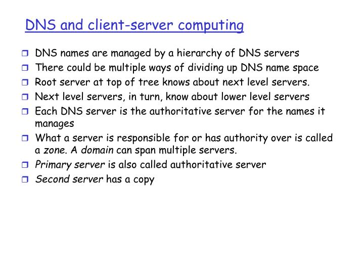 DNS and client-server computing