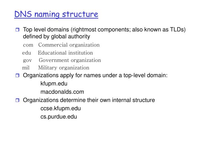 DNS naming structure