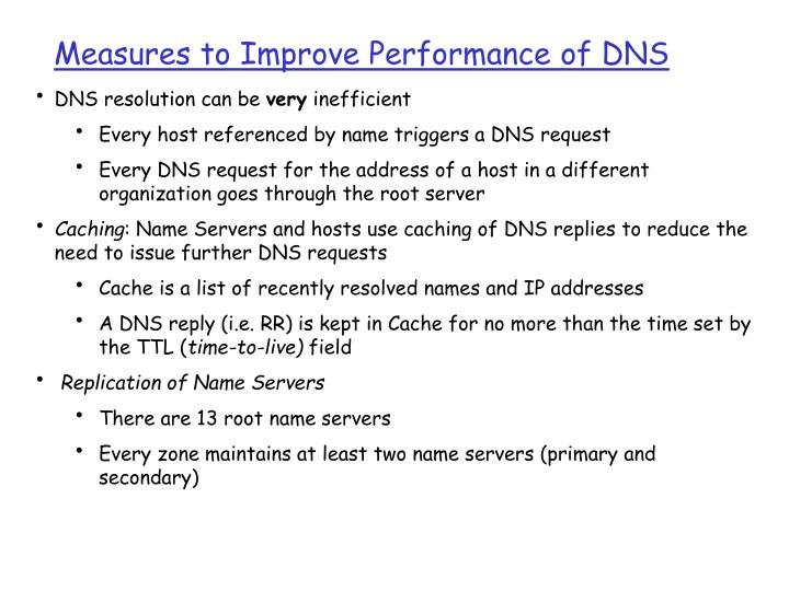 Measures to Improve Performance of DNS