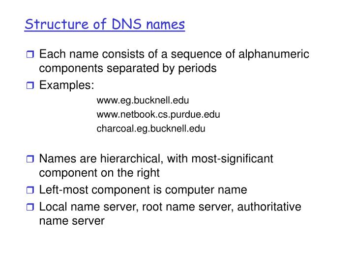 Structure of DNS names