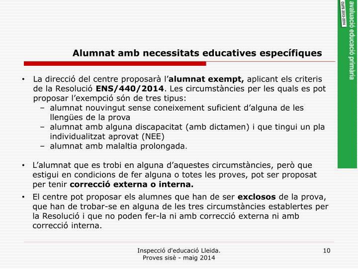 Alumnat amb necessitats educatives específiques