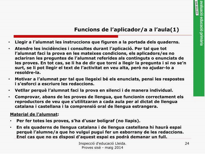 Funcions de l'aplicador/a a l'aula(1)