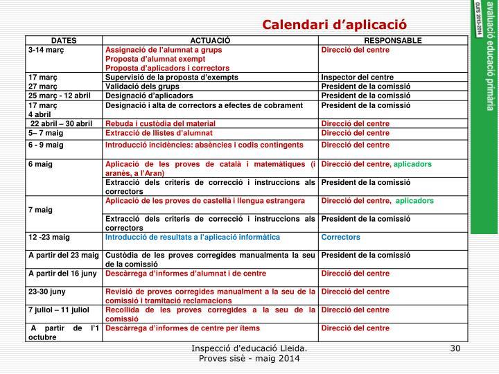 Calendari d'aplicació