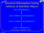 structural subsumption among arbitrary indefinite objects