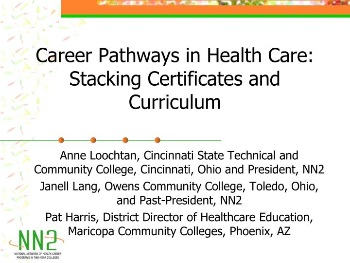 career pathways in health care stacking certificates and curriculum n.
