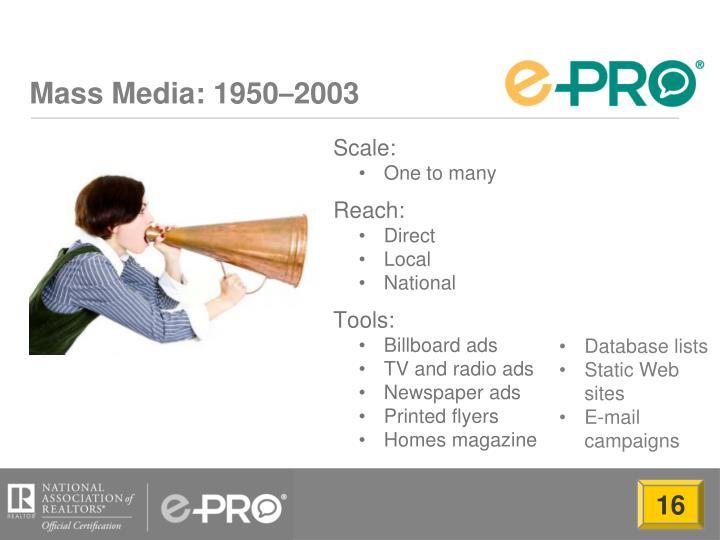 Mass media 1950 2003