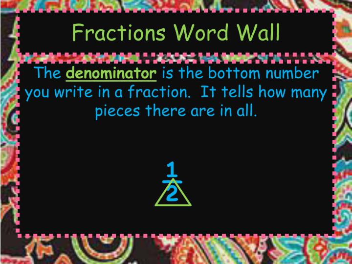 Fractions Word Wall