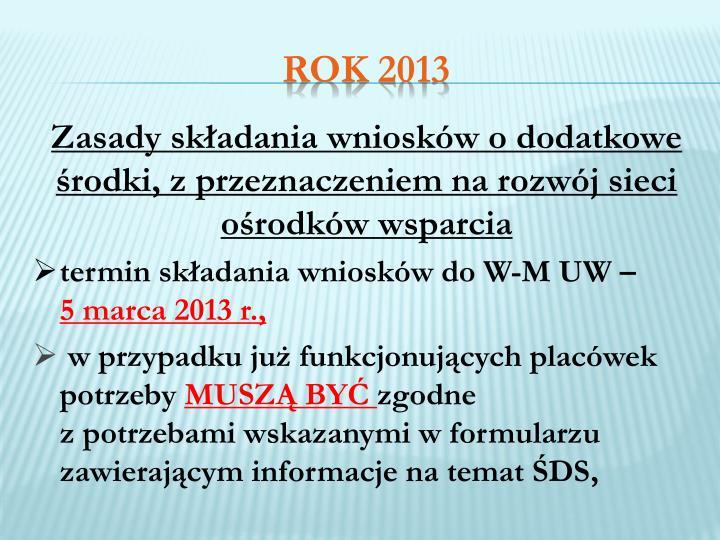 Zasady składania wniosków o dodatkowe środki, z przeznaczeniem na rozwój sieci ośrodków wsparcia