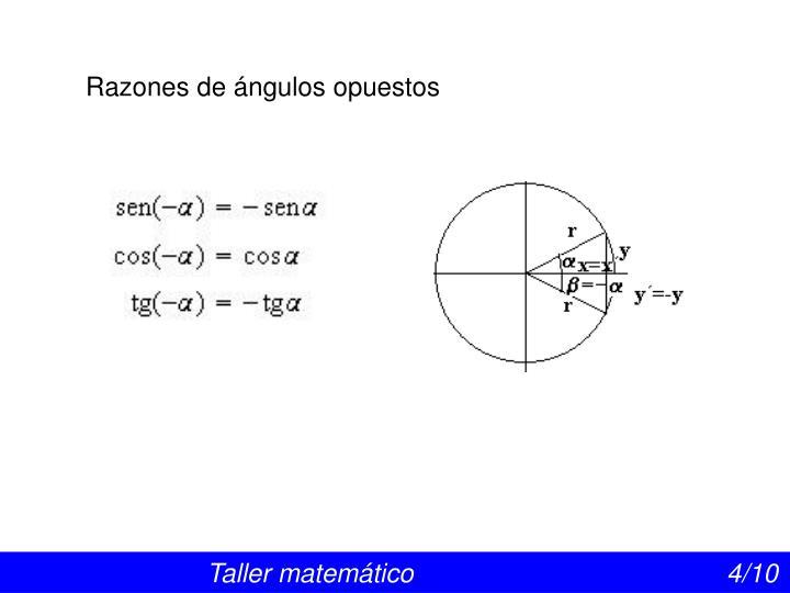 Razones de ángulos opuestos