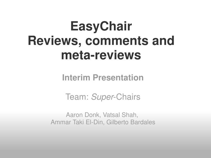easychair reviews comments and meta reviews n.