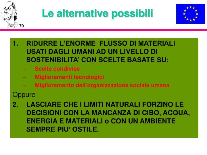Le alternative possibili