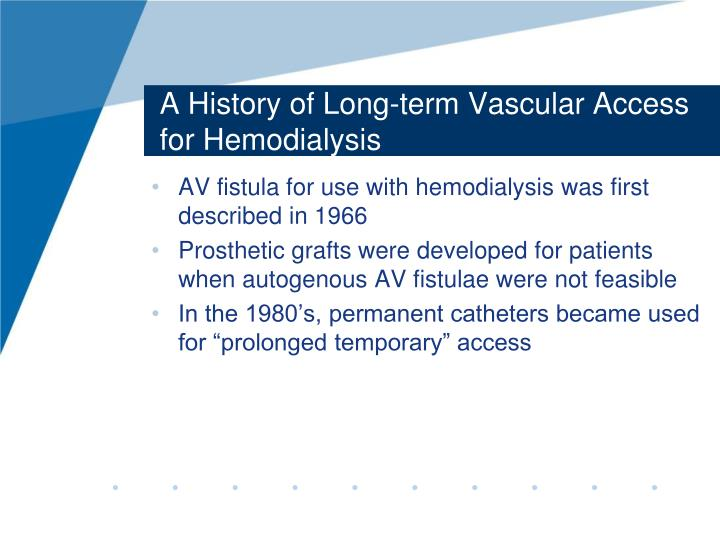 A history of long term vascular access for hemodialysis