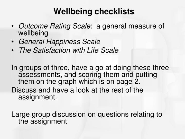 Wellbeing checklists