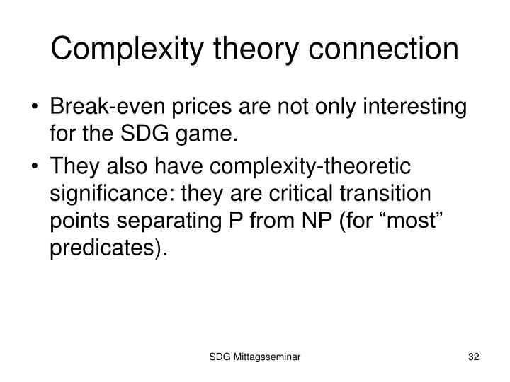 Complexity theory connection