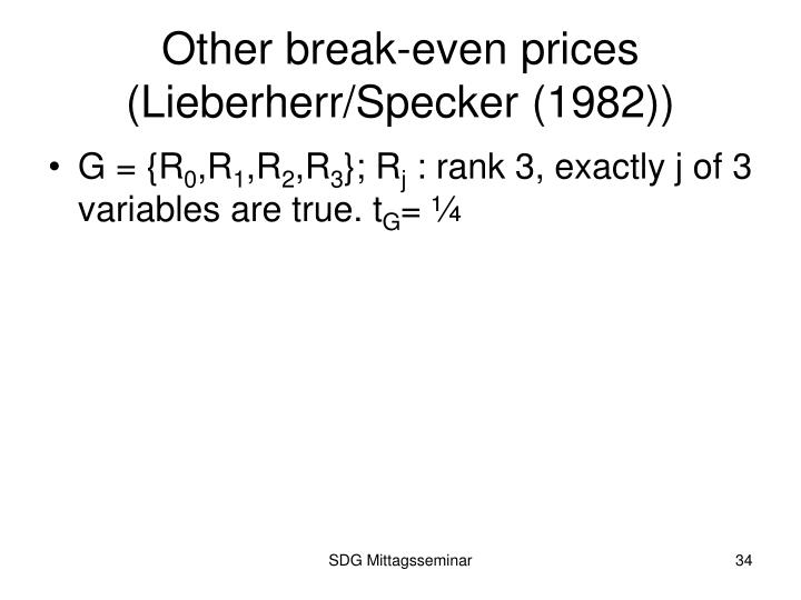 Other break-even prices