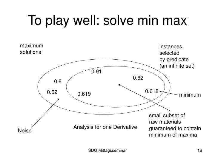 To play well: solve min max