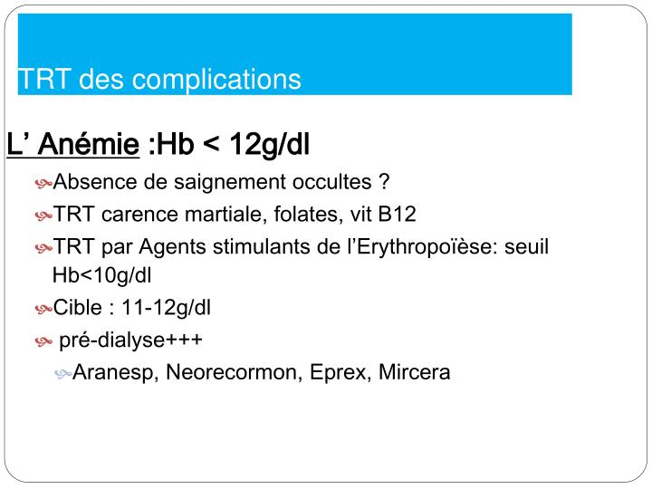 TRT des complications