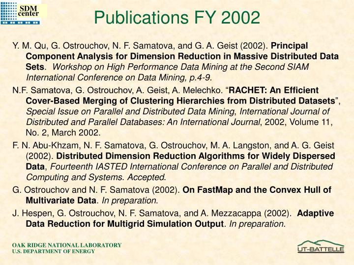 Publications FY 2002
